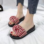 拖鞋 蝴蝶結拖鞋女新款韓版厚底外穿涼拖鞋LJ9970『miss洛羽』