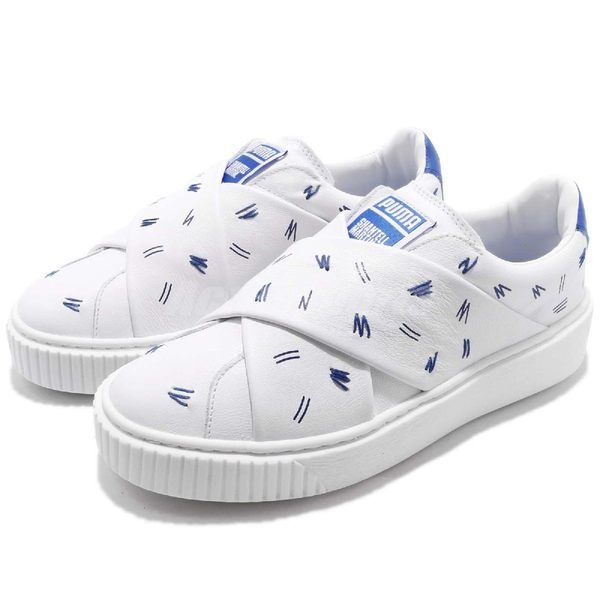 5cedf5666e7a Puma 休閒鞋Platform Slip On SM Shantell Martin 白藍無鞋帶厚底聯名限量款皮革女鞋 PUMP306   36590001