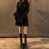 衛衣裙秋冬新款韓版加絨加厚連帽黑色衛衣裙女冬季收腰中長款上衣潮 新年禮物