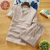 夏季亞麻套裝男短袖短褲中國風大碼寬鬆棉麻T恤男士兩件套男裝潮   JSY時尚屋
