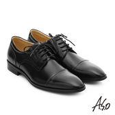 A.S.O 職人通勤 簡約全真皮綁帶紳士皮鞋  黑