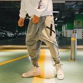 飛鼠褲ins超火的休閒褲男青年吊檔哈倫褲寬鬆大碼假兩件拼接束腳飛鼠褲 韓國時尚週