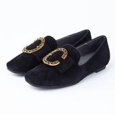 itabella.金屬飾釦羊皮方頭包鞋(8571-93黑色)