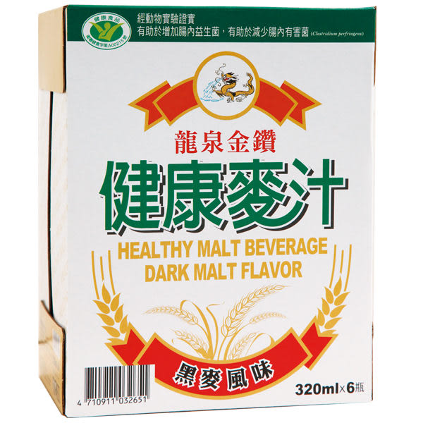 龍泉健康麥汁黑麥汁320ml*6入