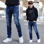 牛仔褲 韓國製深藍刷色小刷破合身牛仔褲【NB0721J】