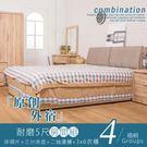 床架 房間組合 原創外宿耐磨5尺房間組-4件組(衣櫃)雙色 16048-4WA【多瓦娜】
