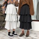 秋裝韓版氣質中長款高腰a字蛋糕裙長裙寬鬆百褶裙半身裙女士裙子