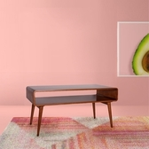 E-home Luxi路希實木開放收納咖啡桌-原木
