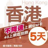 【TEL25】香港上網卡 5日 不限流量不降速 4G上網 吃到飽上網SIM卡