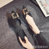 單鞋尖頭平底單鞋女百搭新款春秋鞋子淺口春季仙女風中空平跟 凱斯盾