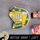 美式復古 流行鐵牌 led氣氛壁燈 立體造型 工業風 BEER 路標鐵皮畫 牆面裝飾 掛飾-米鹿家居