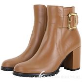 BALLY BRIELLE 方釦牛皮溝紋底粗跟靴(棕色) 1940528-B3