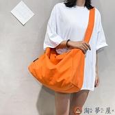 帆布收納袋女休閒側背包百搭大容量行李袋健身包【淘夢屋】