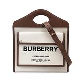 【台中米蘭站】全新品 BURBERRY Louise標誌 帆布手提/肩背口袋包-大(棕)