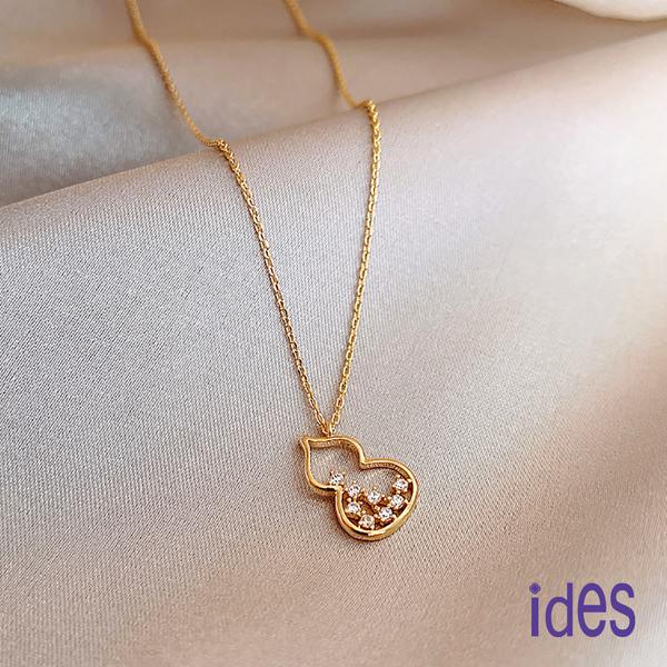 ides愛蒂思 輕珠寶時尚設計晶鑽項鍊鎖骨鍊/小葫蘆