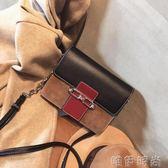 鍊條包包 包包女復古撞色小方包新款百搭潮磨砂風琴包鍊條包單肩斜背小包包   唯伊時尚