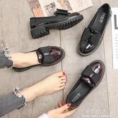 英倫風女鞋子新款軟妹小皮鞋百搭韓版大碼粗跟樂福單鞋女 全店免運
