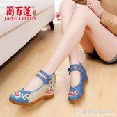 老北京布鞋女內增高坡跟中老年人媽媽民族風繡花鞋 格蘭小舖