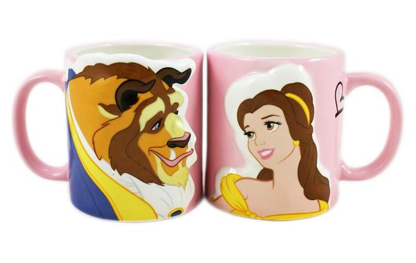 【卡漫城】 美女與野獸 情人 對杯 ㊣版 日版 馬克杯 情侶 3D 陶瓷杯 立體 貝兒 Belle Beast 王子