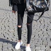 乞丐破洞打底褲女褲緊身外穿薄款黑色九分小腳鉛筆褲