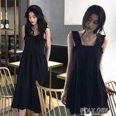 春夏季初戀很仙的吊帶洋裝桔梗過膝山本法國小眾法式復古小黑裙 polygirl