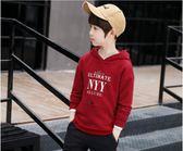 男童衛衣 男童印花連帽衛衣裝中大童純色字母套頭衫兒童上衣潮   瑪麗蘇