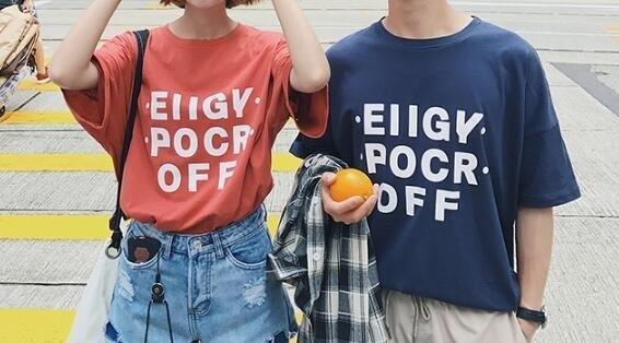 FINDSENSE MD 韓國 潮 男 時尚 五分袖 寬鬆 創意英文印花 情侶裝