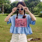 韓國小清新格子貼布荷葉邊寬鬆短袖T恤學生短款上衣 「尚美潮流閣」