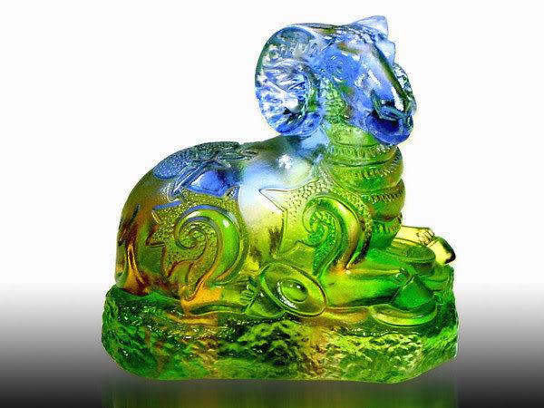 鹿港窯-居家開運商品-琉璃S十二生肖文鎮【羊】附精美包裝◆免運費送到家