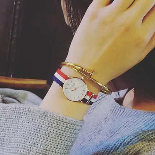 韓國小錶盤帆布簡約文青閨蜜男錶對錶女錶學生手錶皮帶手表[W111]
