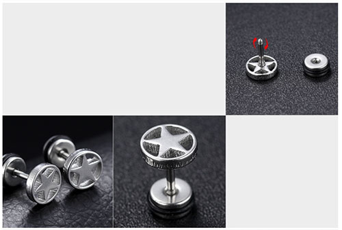 《 QBOX 》FASHION 飾品【E100N347】精緻個性幸運五芒星316L鈦鋼插式耳環-防過敏(金/銀/黑)
