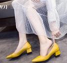 低跟鞋 女鞋2020春秋季新款淺口尖頭女士中粗跟單鞋網紅晚晚兩穿職