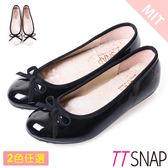 娃娃鞋-TTSNAP MIT蝴蝶結亮面小羊漆皮平底鞋 黑/米