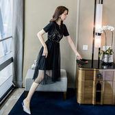 韓系洋裝小禮服.實拍網紅同款時髦洋氣刺繡亮片兩件套連身裙配腰帶8331GT364依佳衣