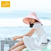 防曬帽女防紫外線大沿遮臉太陽帽夏季戶外出游沙灘遮陽帽【聚物優品】