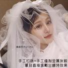 新娘頭紗2019釘珠多層韓式蓬蓬旅拍照頭...
