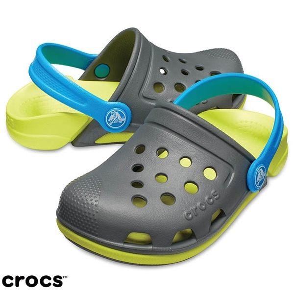 Crocs 伊萊克托3代小克駱格 灰/黃綠色 小中童鞋 NO.R2592