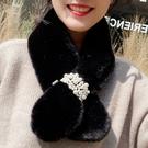 珍珠毛毛領子圍脖冬季女韓版保暖圍巾護百搭可愛少女仿獺兔毛絨 KV5106 【小美日記】