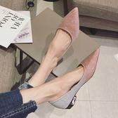 四季豆豆鞋秋季韓版時尚百搭漸變色四季尖頭低跟女鞋潮金色婚鞋單鞋