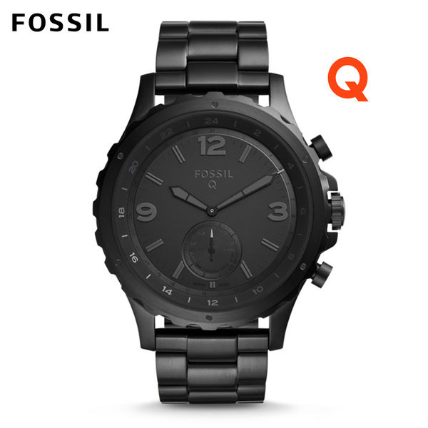 FOSSIL Q NATE黑色不鏽鋼指針式智慧手錶 男