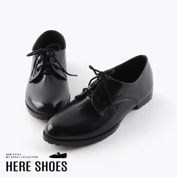 [Here Shoes]皮鞋-皮質鞋面 純色簡約 英倫牛津風 學生皮鞋 黑皮鞋 紳士鞋-MIT台灣製 KT959