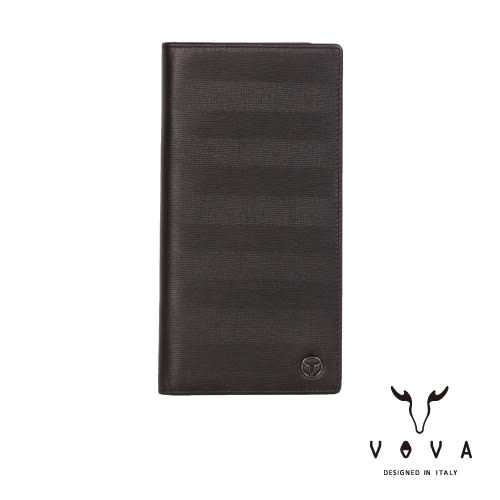 【VOVA】印璽系列12卡透明窗AI紋長夾(咖啡色)VA111W005BR