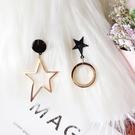 耳環 星星 圓形 鏤空 吊墜 不對稱 氣質 甜美 耳釘 耳環【DD1812114】 BOBI  03/07