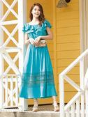 單一優惠價[H2O]渡假風肩帶可拆下襬蕾絲拼接長洋裝 - 白/淺紫/藍綠色 #9674012