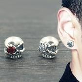 創意復古個性骷髏頭銀質耳釘男黑色正韓嘻哈GD志龍同款耳環潮單只【八折搶購】