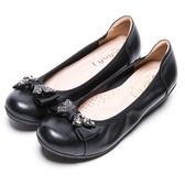 DIANA 舒適甜美--質感鑽飾蝴蝶結娃娃鞋-黑★特價商品恕不能換貨★