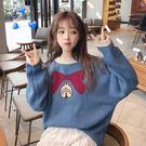 (全館一件免運)DE SHOP~(XA-18920)學院風可愛蝴蝶結鈴鐺寬鬆百搭長袖套頭藍色針織上衣網紅毛衣