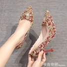 結婚鞋女新款網紅中式紅色高跟鞋ins仙細跟秀禾鞋芥末新娘鞋 聖誕節全館免運
