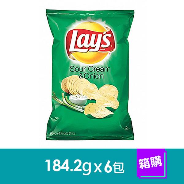 美國Lay,s洋芋片-奶焗香蔥口味(184.2gx6包)-箱購