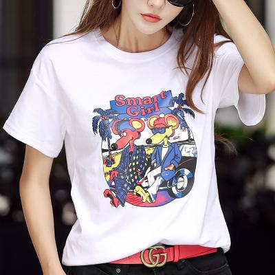 夏季女裝寬松短袖t恤女打底衫百搭卡通韓版半袖上衣PF412紅粉佳人